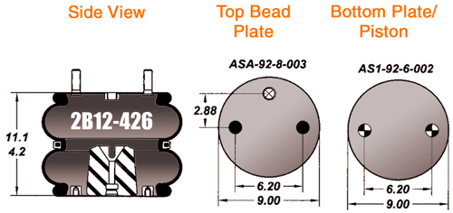 2b12-426 air bag double convolute